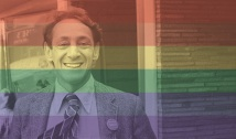 Harvey Milk with Rainbow Overlay
