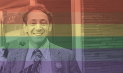 Harvey Milk with Rainbow Overlay